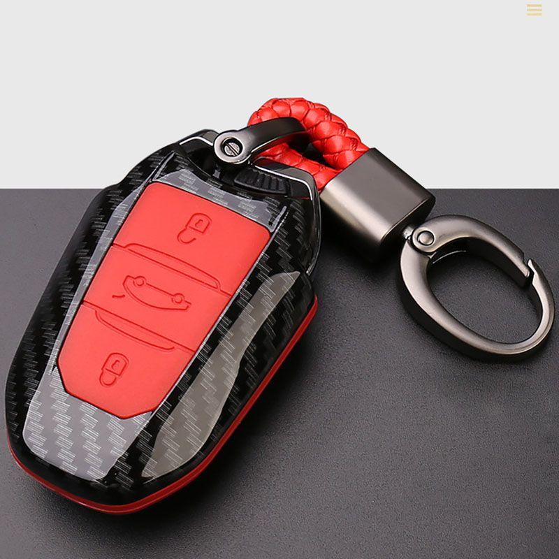 Carbon Fiber Car Key Cover Case 3 Buttons For Peugeot 3008 508