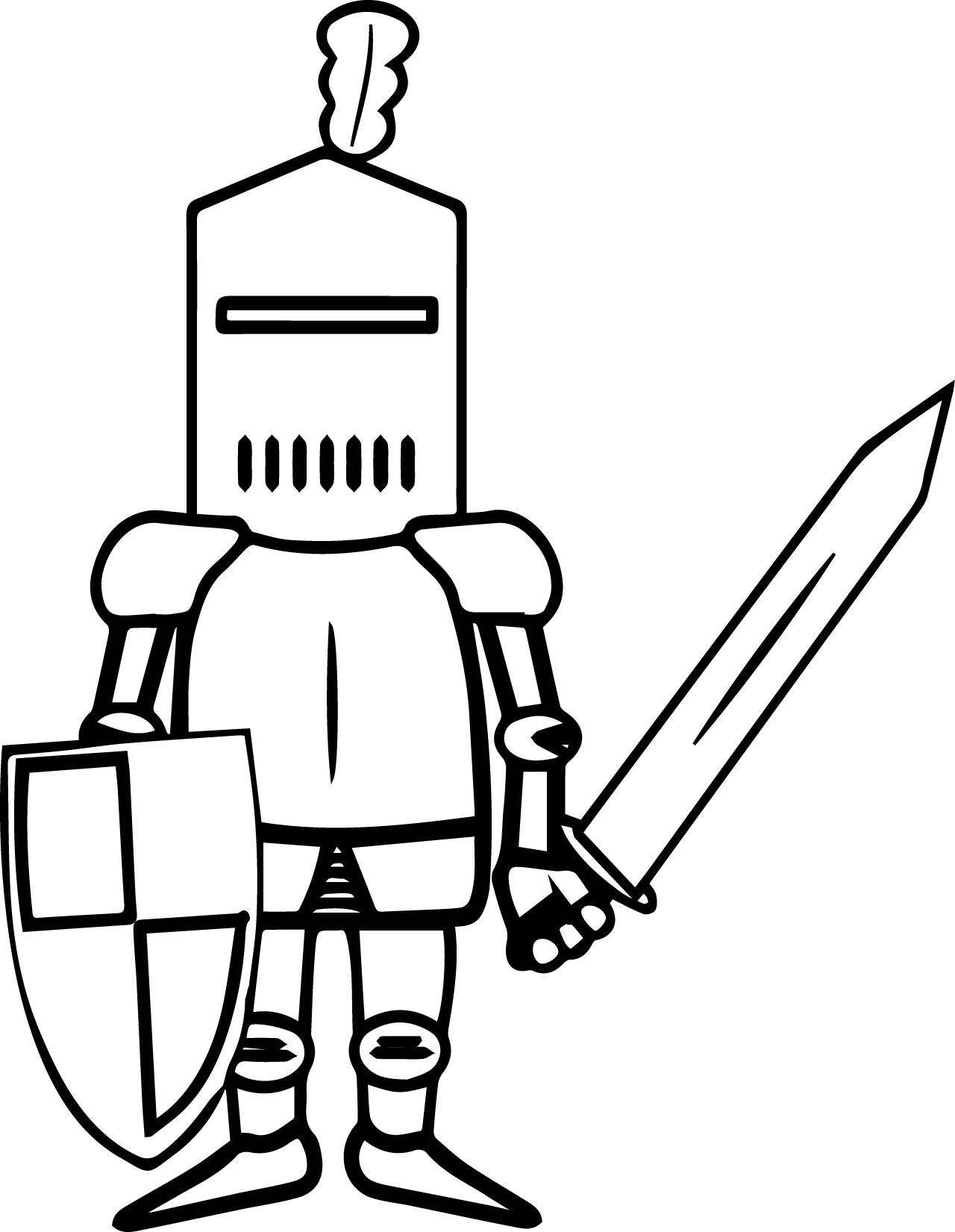 Knight sword coloring page