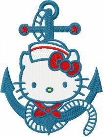 Love this!!! I don't normally like anchor stuff but this sure is cute. I'm sure Alexia will love this. Hello Kitty Nautical machine embroidery design