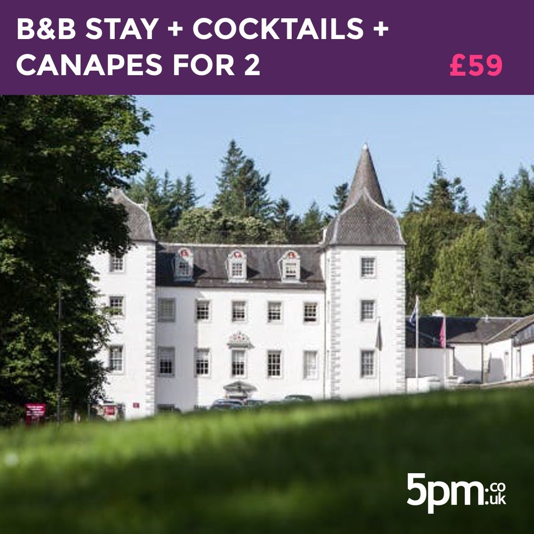 SOLD OUT - £59 for an Overnight B&B Stay with Cocktails & Canapés for 2 at Mercure Peebles Barony Castle Hotel.