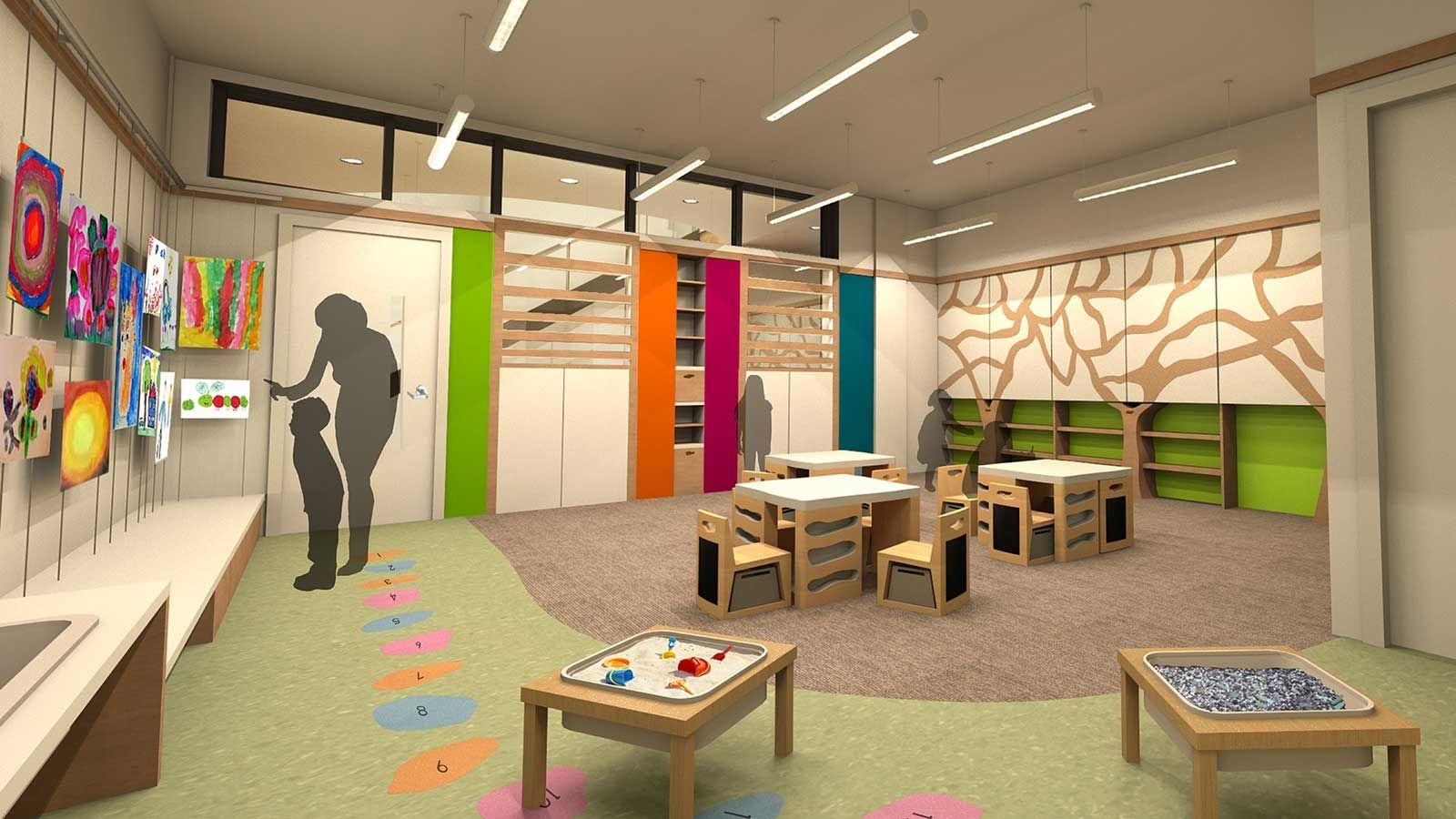 Modern Interior Kids Classroom School Design With Minimalist Wooden  Furniture Classroom Design Idea And Colorful Wall Decorating Kids Classroom  Design