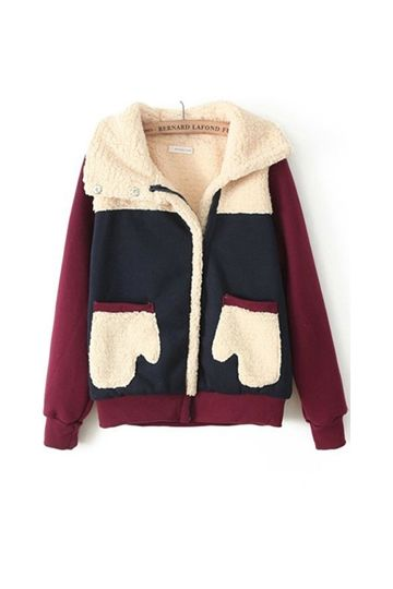 Color Block Gloves Shape Pockets Coat [FEBK0494]- US$ 36.99 - PersunMall.com