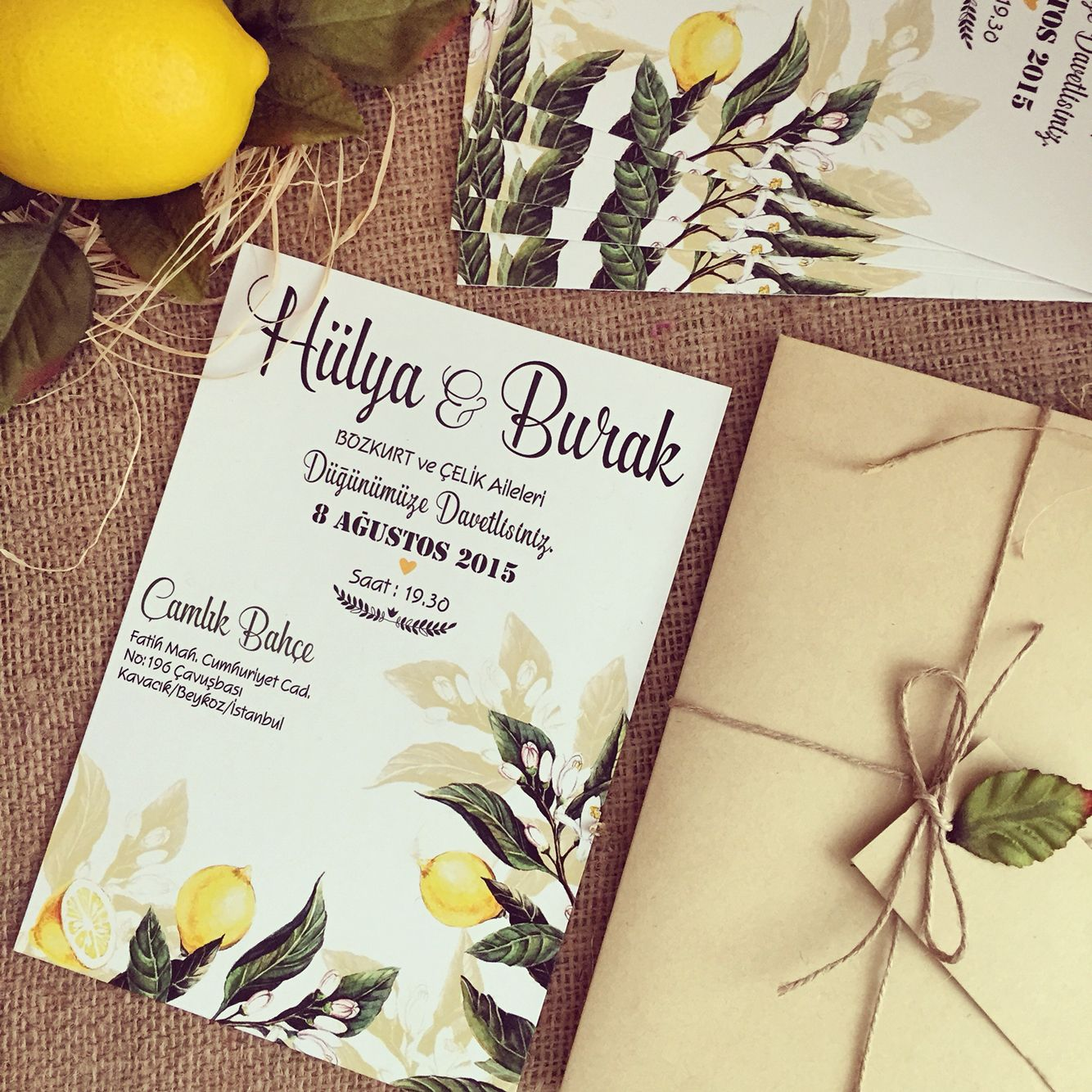 Limon konseptli davetiye / Wedding invitation with lemon www.masalsiatolye.com #masalsiatolye #davetiye #weddinginvitation #limon #lemon
