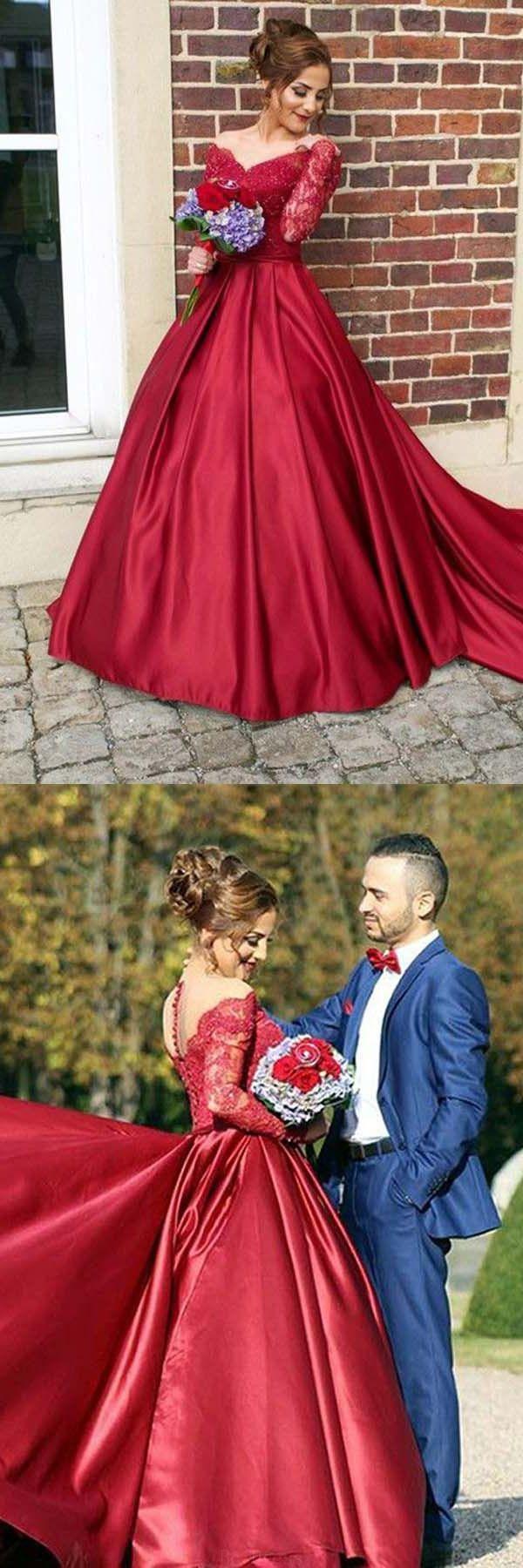 Burgundy prom dress burgundypromdress long sleeves prom dress