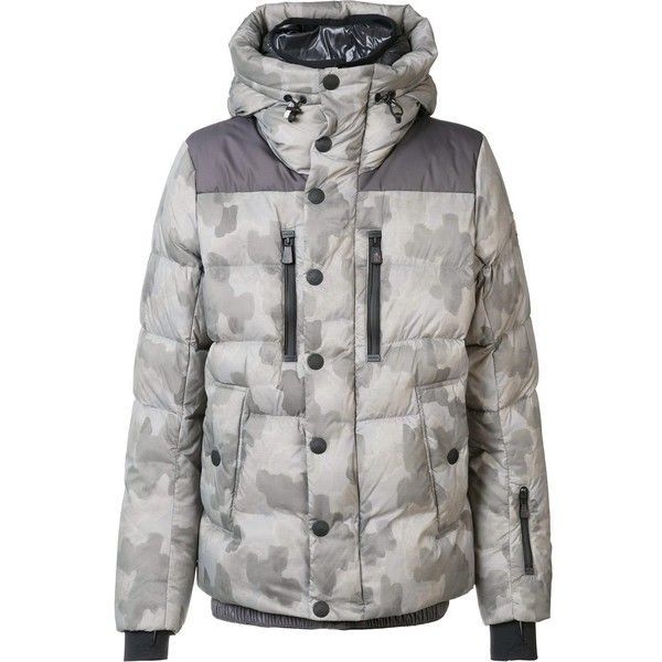 Moncler 'Rodenberg' padded jacket ($2,125) ❤ liked on Polyvore featuring men's fashion, men's clothing, men's outerwear, men's jackets, grey, mens camouflage jacket, mens padded jacket, mens short sleeve jacket, mens zip up jackets and mens hooded jackets