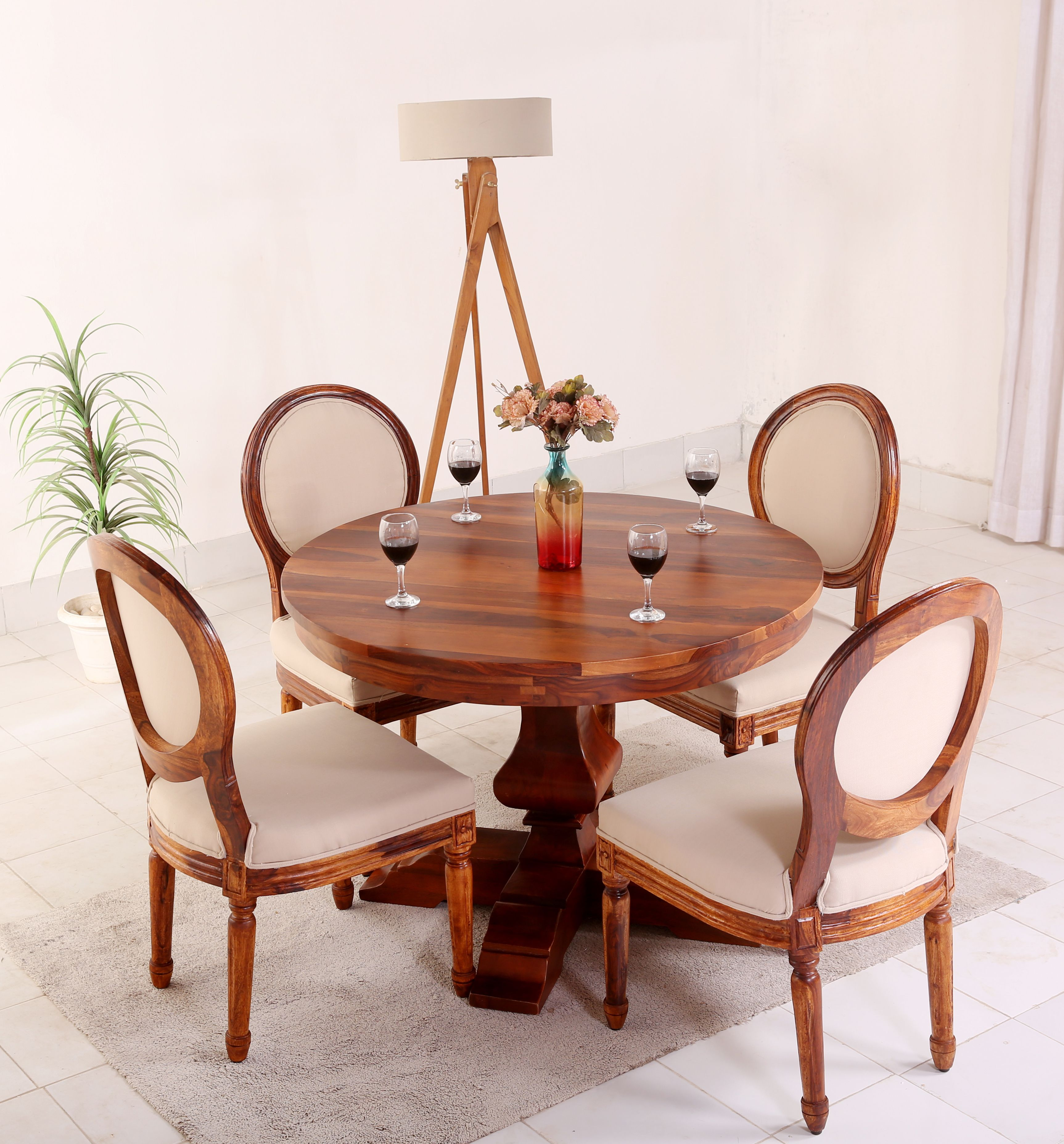 Buy Clark 4 Seater Round Dining Set Teak Finish Online In India