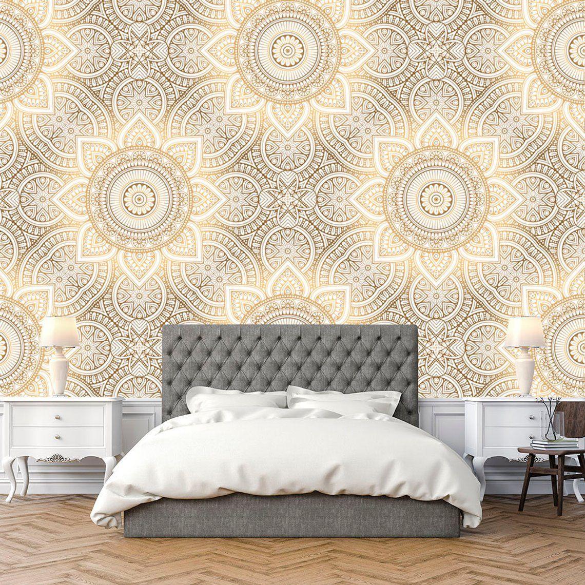 Mandala Wallpaper Indian Boho Wallpaper Luxury Art Removable Etsy Boho Wallpaper Mandala Wallpaper Wallpaper Bedroom