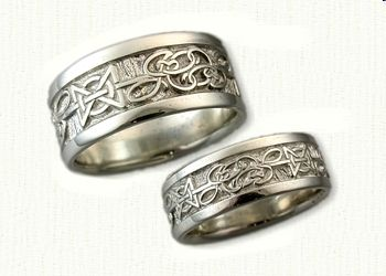 Hugs kisses Wedding band in combination with JC Initials Celtic