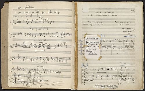 This autographed manuscript score of Peter and the Wolf belonged to Serge Koussevitzky, conductor of the 1938 United States premiere at Symphony Hall. Koussevitzky served as music director and conductor of the Boston Symphony Orchestra from 1924 to 1949 and was instrumental in establishing the ensemble's reputation as a leading American orchestra and developing the Tanglewood summer concert series.