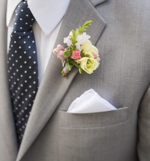 Boutonniere In Soft Yellow And Pink By Ella & Louie
