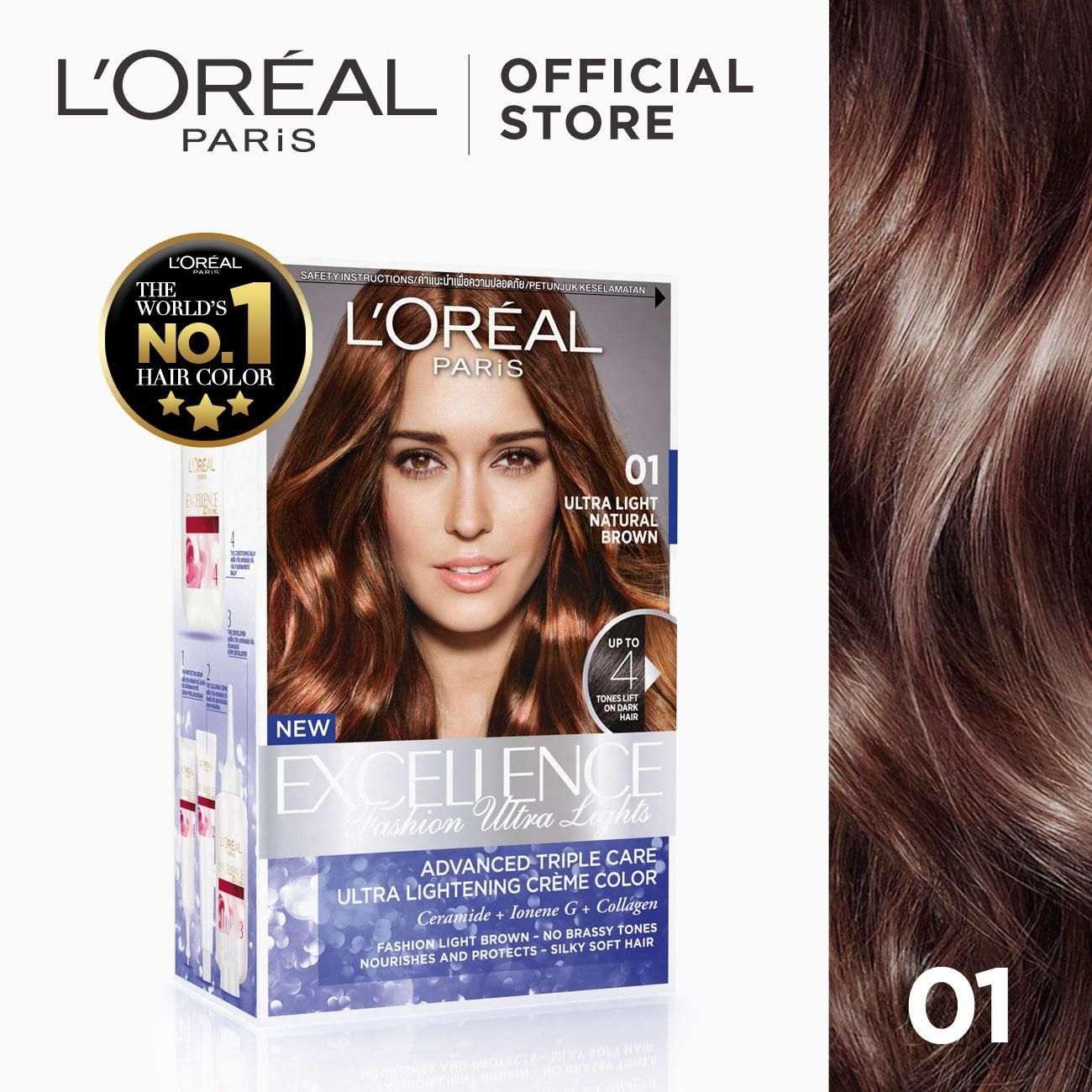 Excellence Fashion Ultra Lights Hair Color 03 Ash Brown World S No 1 By L Oreal Paris W Protective Seru In 2020 Hair Color Ash Brown Hair Color Loreal Hair Color