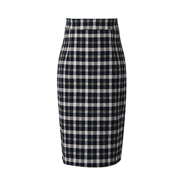 Classic Plaid Zipper Back Pencil Skirt, Fashion Style Skirts
