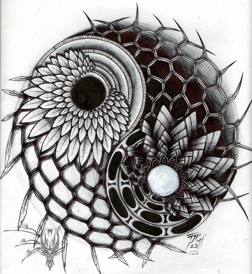 balance yin yang zentangle design by tsunami noboru dragons of contrast pinterest yin. Black Bedroom Furniture Sets. Home Design Ideas