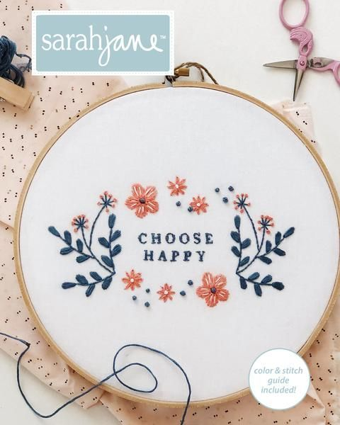 Choose Happy Embroidery Pattern