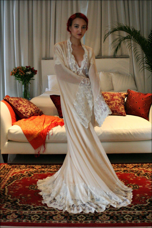 a44f177260639 Bridal Silk Robe Champagne Chiffon Bridal Lingerie Wedding Robe Bridal Robe  French Versailles Lace Bridal Sleepwear