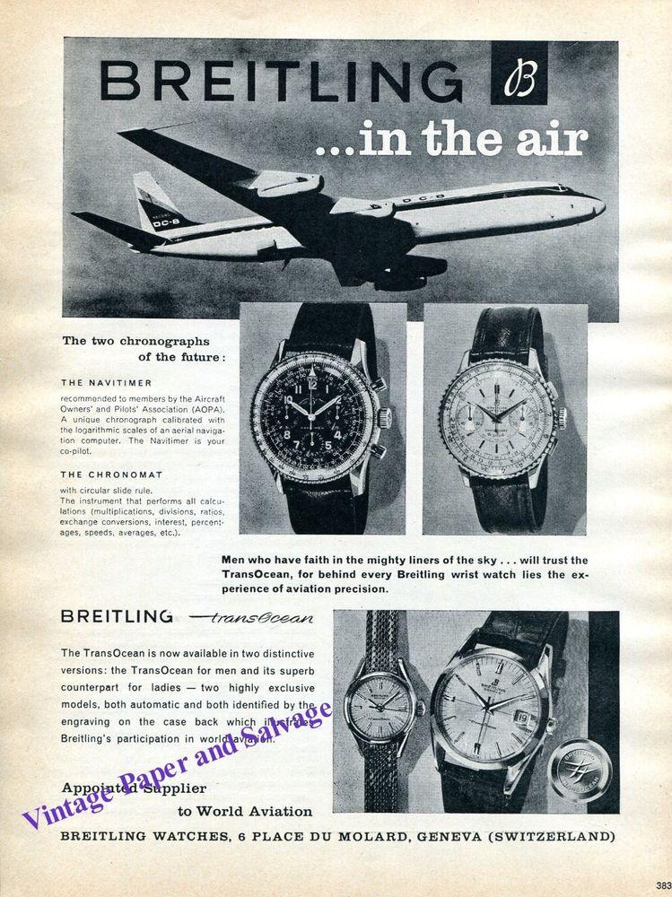 2576e76d1b1 1960  Breitling  TransOcean  Navitimer  Chronomat  Watch Advert  Aviation   AirPilot  Pilot  Swiss  Suisse  Schweiz