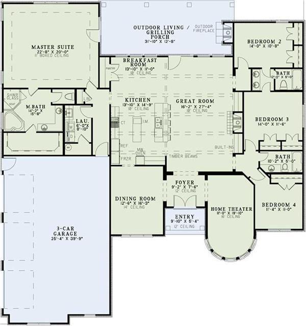 Metal building home floor plans home plan 153 1359 for Dining room floor plan