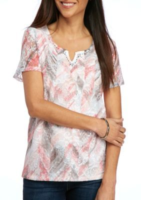 d18a2248dd71a Alfred Dunner Women s Petite Rose Hill Abstract Floral Top - Multi - Ps