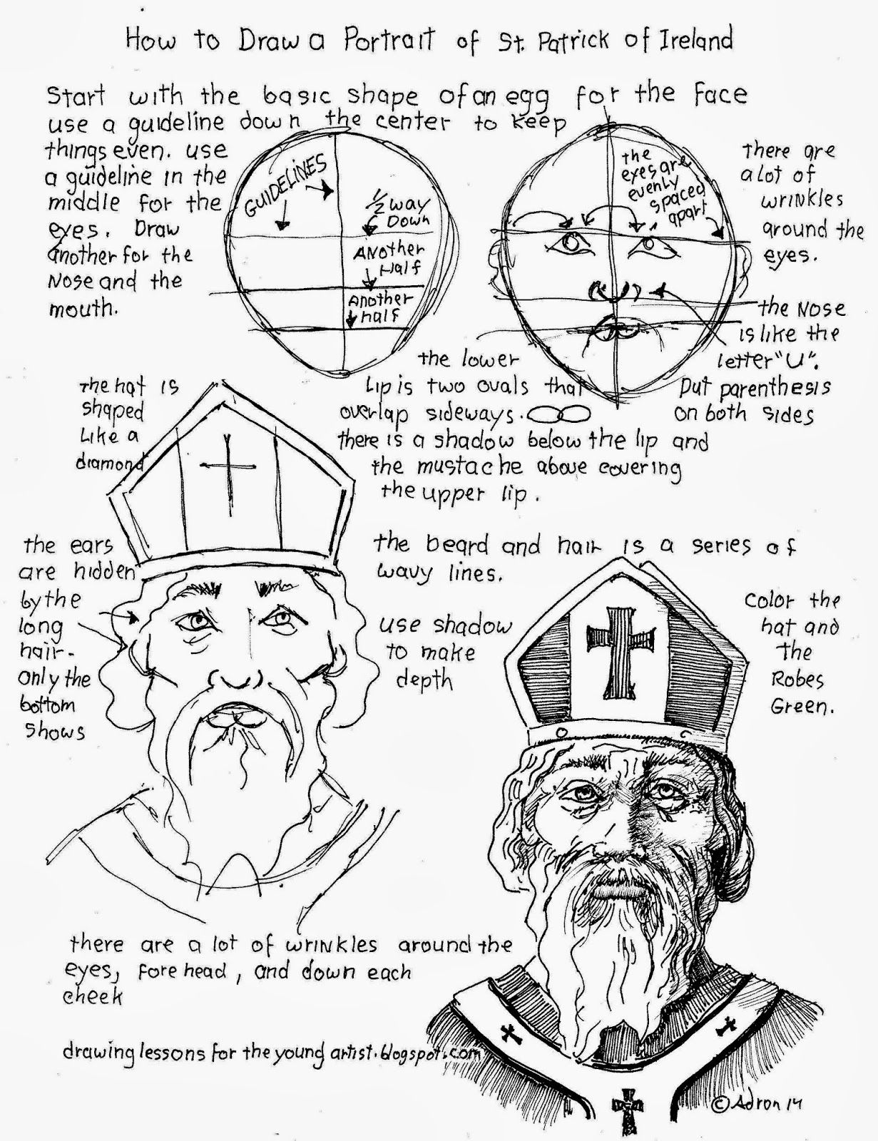 How To Draw A Portrait Of St Patrick Of Ireland Worksheet
