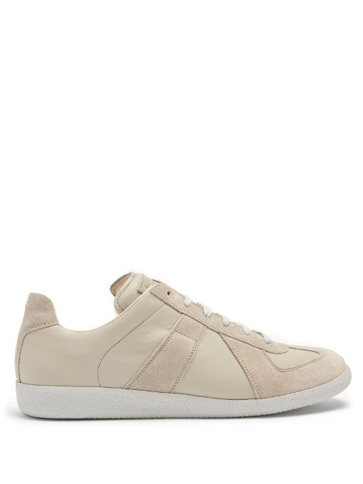 Replica suede-panel low-top leather trainers Maison Martin Margiela Clearance Deals With Mastercard Free Shipping Buy TER5jnL