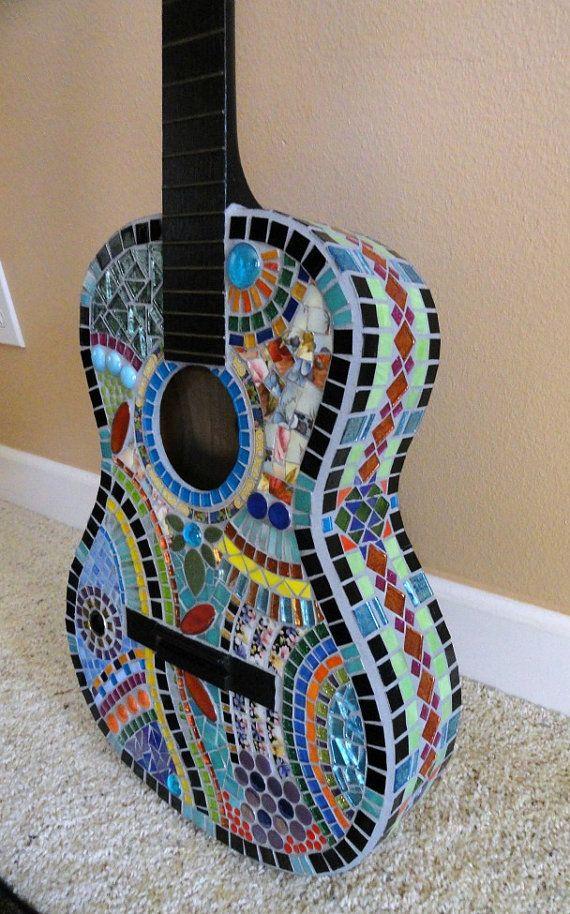 custom mosaic guitar art mosaic art home decor wall decor mixed media art one of a kind. Black Bedroom Furniture Sets. Home Design Ideas
