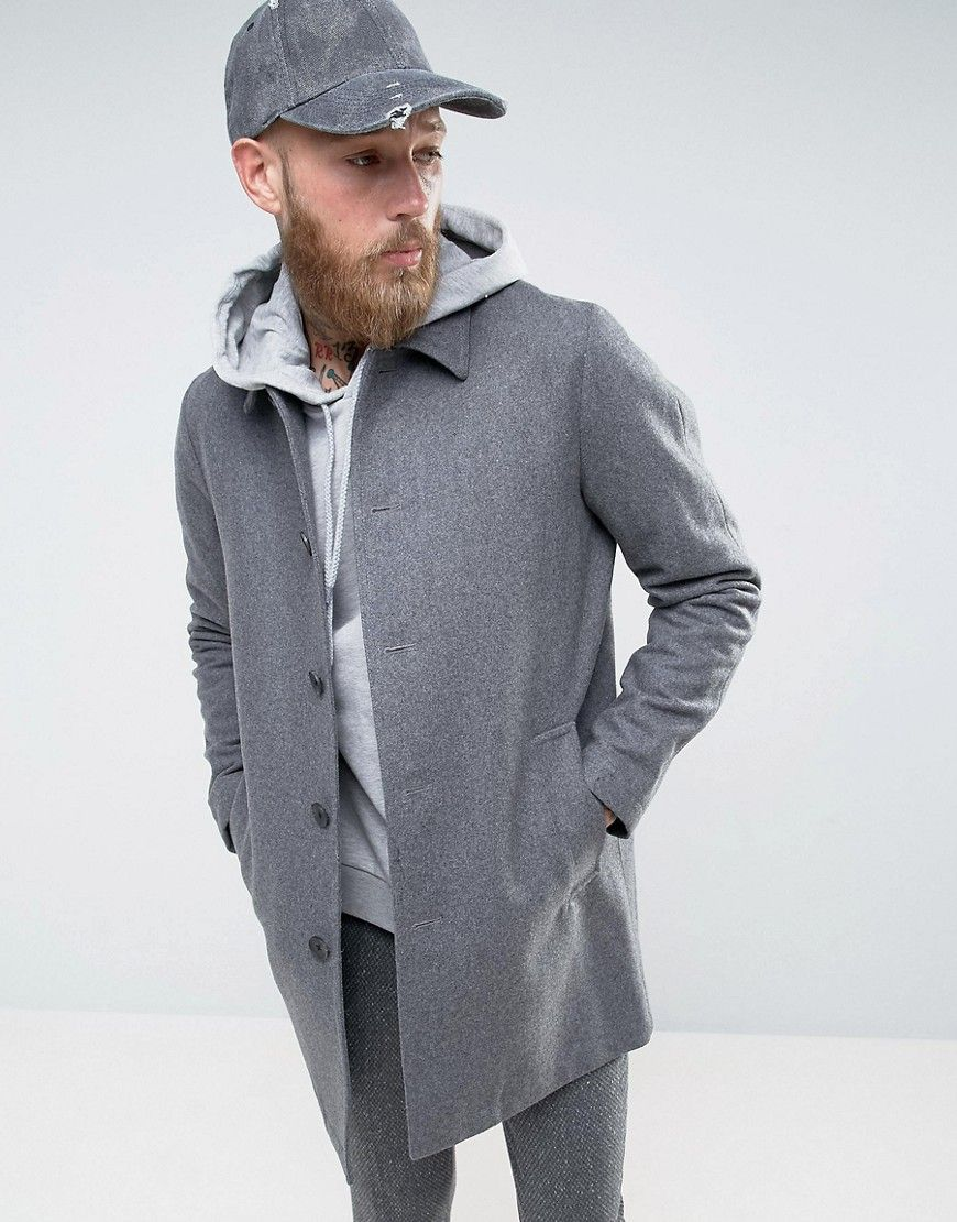 a04a29210fe8 Wool Mix Trench Coat In Light Gray Marl | Products | Mens wool ...