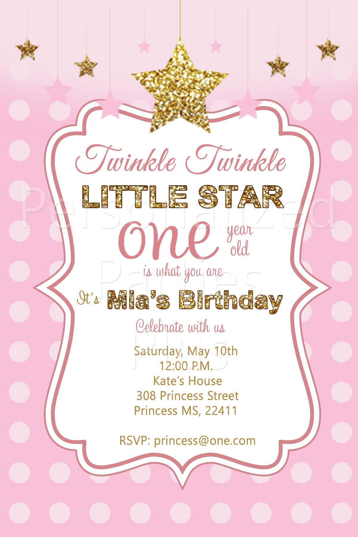 Twinkle twinkle little star birthday invitations | Pink and gold ...