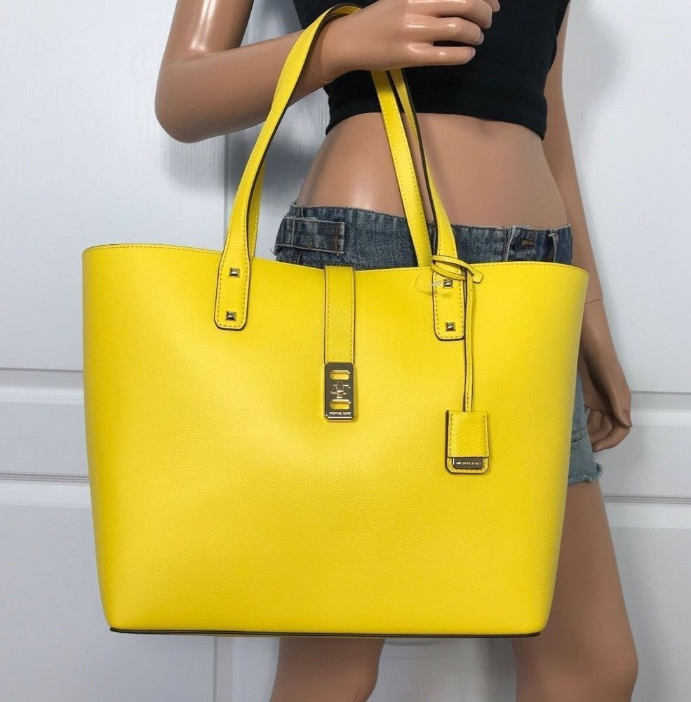d6af8b25cca4 NWT MICHAEL KORS LARGE TOTE CARRYALL LEATHER BAG HANDBAG YELLOW CITRUS # MichaelKors #ShoulderBag