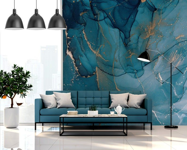 Watercolor Blue Marble Wallpaper Abstract Turquoise And Gold Etsy In 2021 Blue Marble Wallpaper Teal Marble Wallpaper Marble Wallpaper
