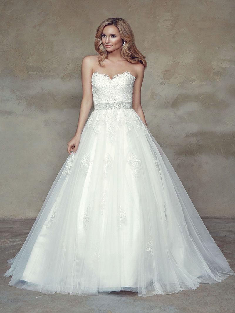 BIANCA M1534L Scalloped Beaded Lace Strapless Sweetheart Ballgown Wedding Dress Mia Solano Luv Bridal Melbourne Australia
