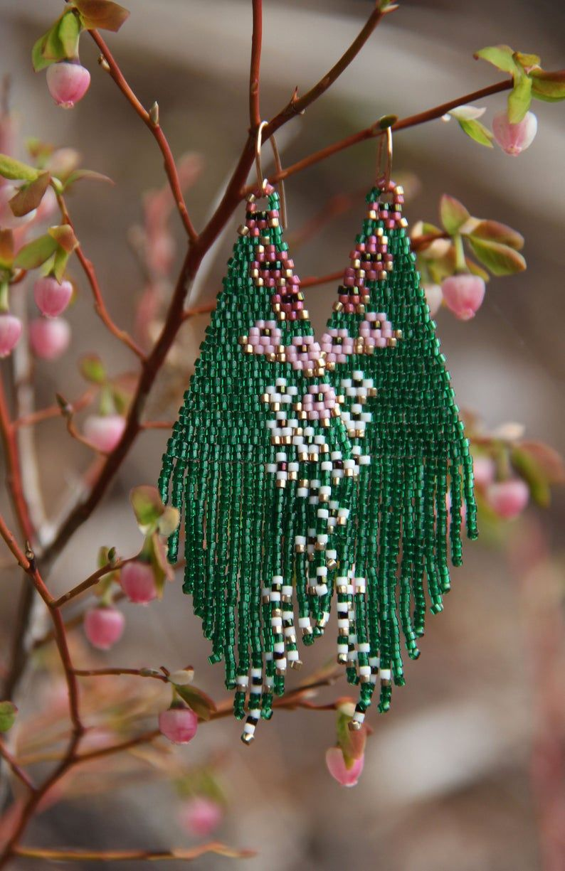 Haruko Floral Beaded Earrings Seed Beads Emerald Green Made Etsy Beading Patterns Beaded Earrings Patterns Brick Stitch Earrings