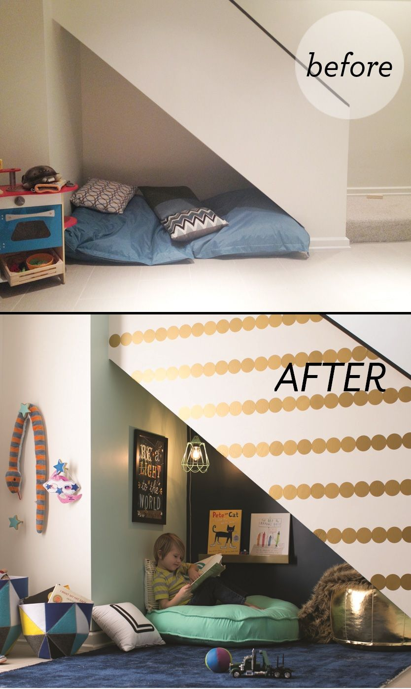 An Under Stairs Kids Book Nook doesn't need to cost an arm and a