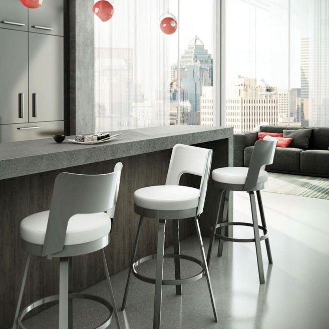 The Benson Bar Stool Features A Rounded Back With Upholstered Cushions And  A Swivel Seat.