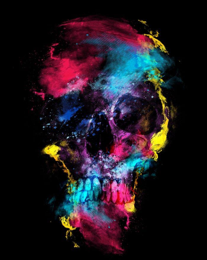 Skull Space Art Print Skull Space Digital Craneos Y Calaveras Calaveras Imagenes De Calavera
