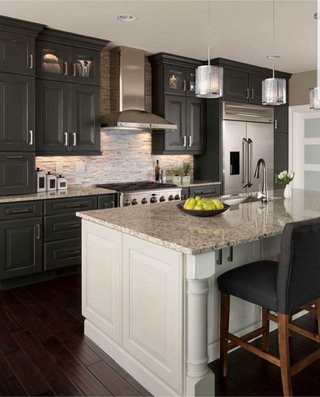 Brighten Up The Darkness Backsplash With Dark Cabinets Dark Kitchen Cabinets Espresso Kitchen Cabinets