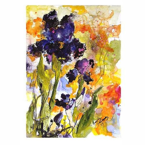 Botanical Black Bearded Iris Flowers Witches Sabbath - Original Watercolor and Ink by Ginette Callaway