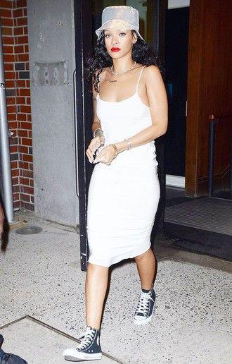 9602a1266a4513 dress slip dress white dress spaghetti strap sneakers high top converse  black converse converse rihanna bodycon dress bucket hat celebrity style