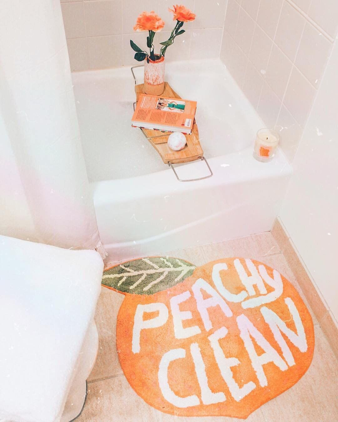 Peachy Clean Bath Mat Urban Outfitters Home Cute Mats Peach Bathroom