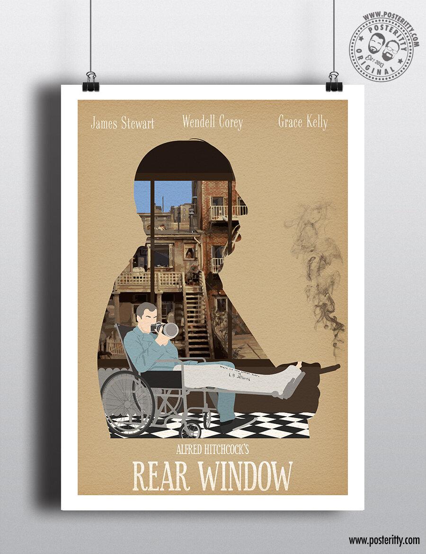 REAR WINDOW HITCHCOCK VINTAGE MOVIE POSTER FILM A4 A3 ART PRINT CINEMA