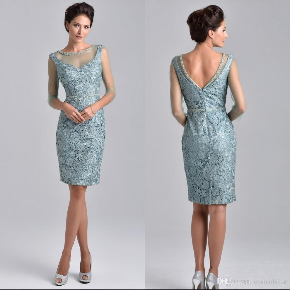 elegant knee length mother of the bride dresses with 3/4 sleeve ...