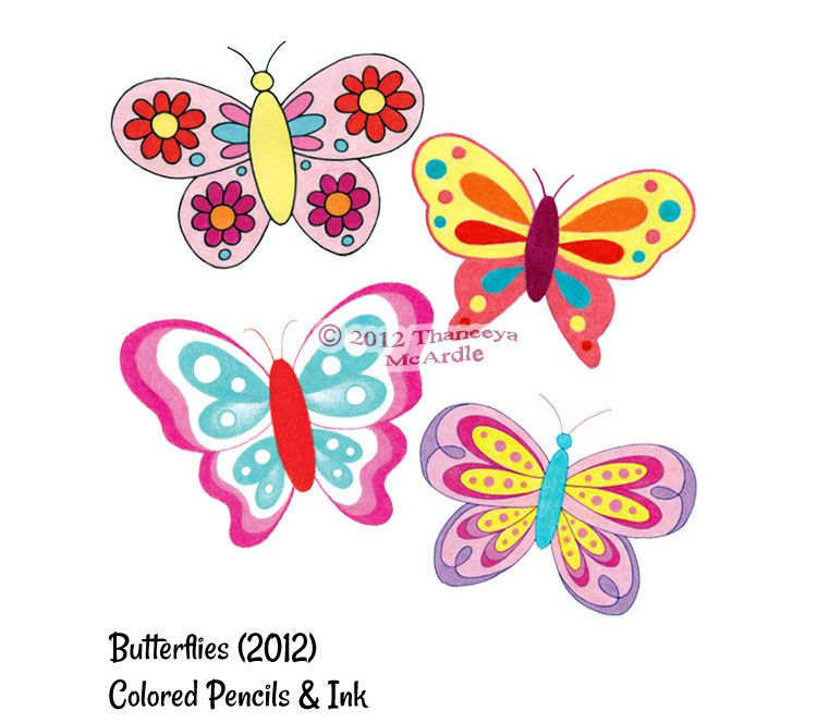 Colorful Whimsical Butterfly Drawings