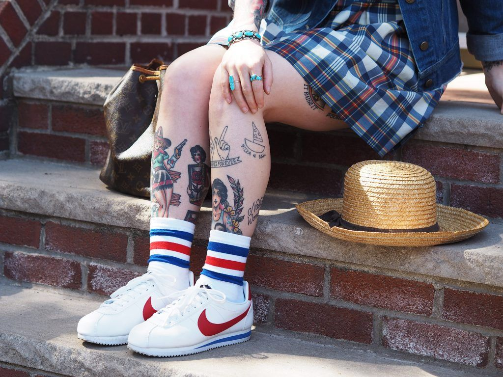 quality design 9e1b0 0580b All American in denim, plaid and classic Nikes. Nike Cortez, Forrest Gump  shoes, plaid dress, denim jacket, vintage Louis Vuitton bucket bag, straw  hat