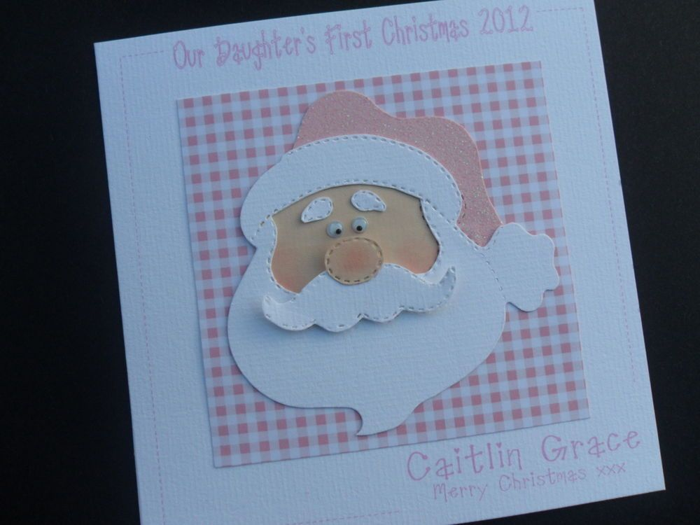 Personalised Handmade Baby's First Christmas Card Daughter