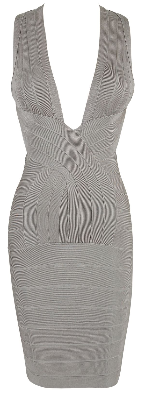 'Vanessa' Grey Deep V Backless Bandage Dress