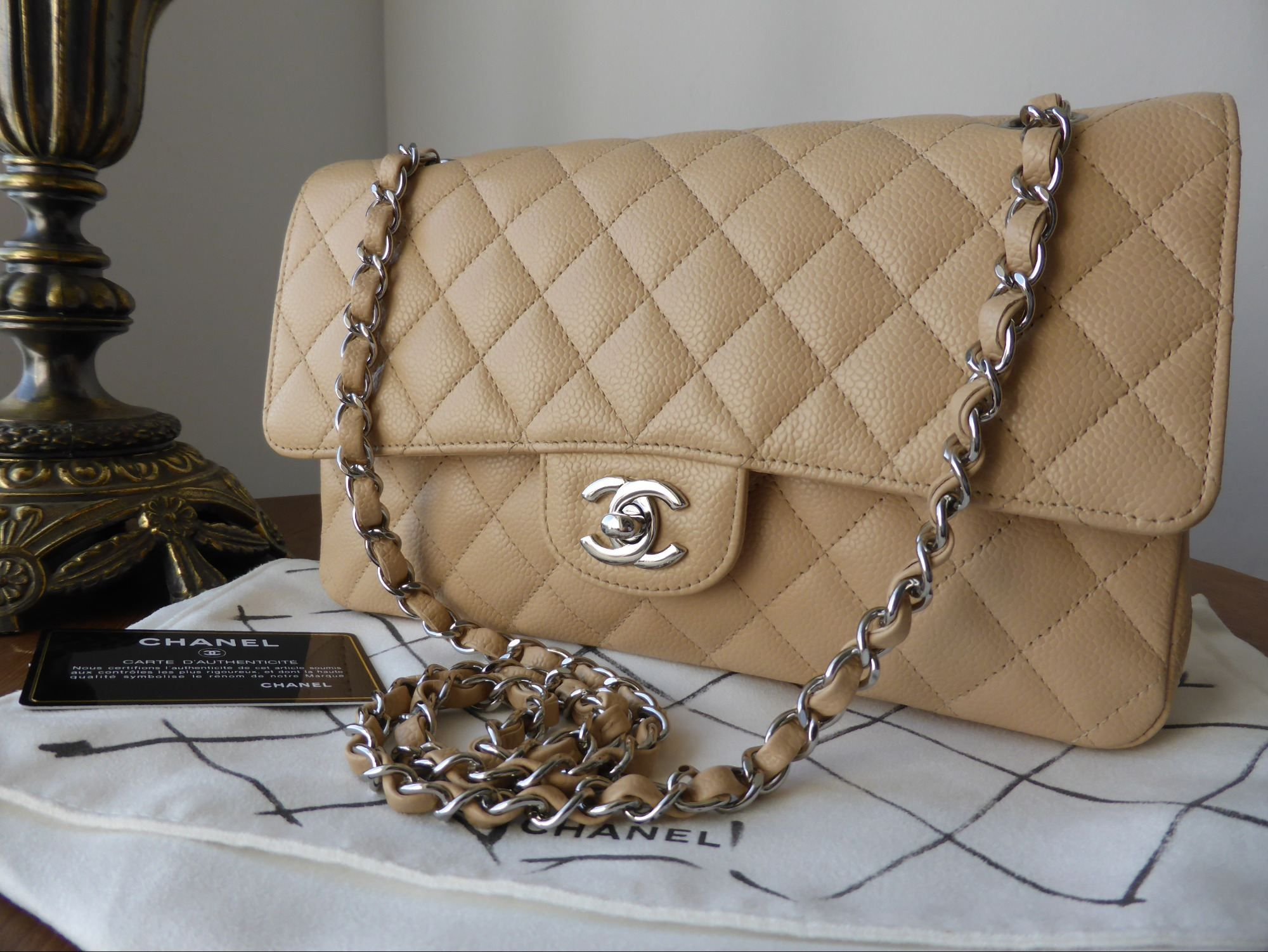 41c1df91c94f Chanel Classic 2.55 Medium Flap in Beige Caviar with Silver Hardware  gt   http