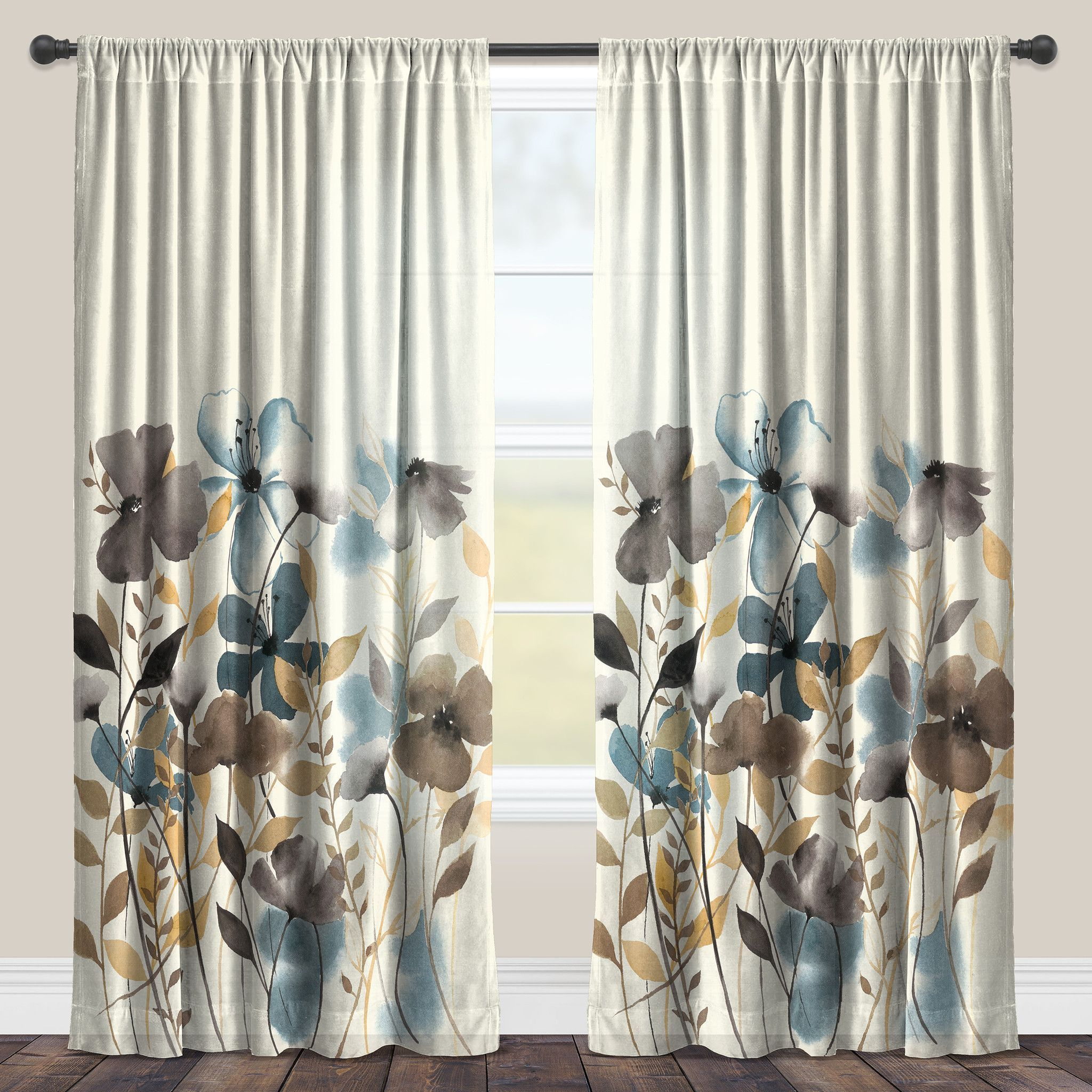 BEIGE LEAF PRINTED SILK VALANCE PANELS ROD POCKET WINDOW CURTAIN TREATMENT NADA