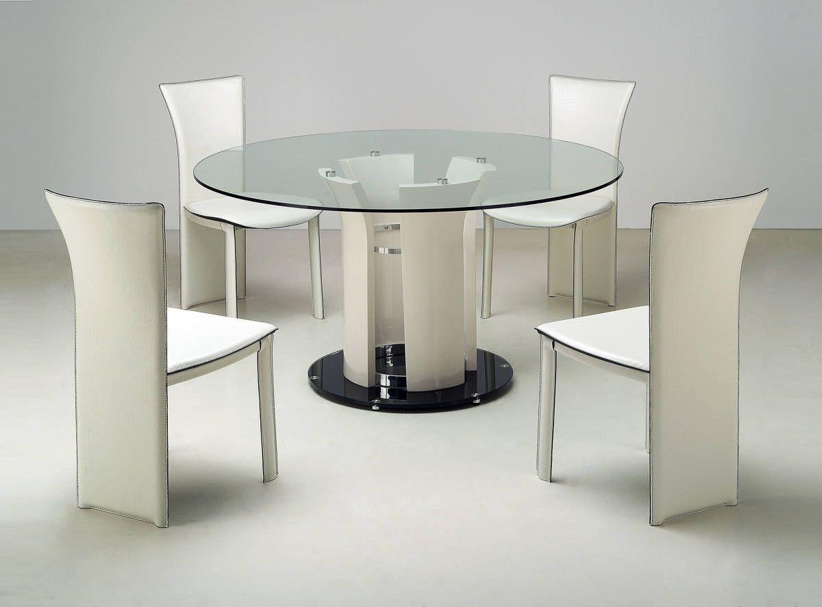 Deborah Chrome Beige Glass Metal Dining Room Set Glass Round Dining Table Modern Round Dining Room Table Glass Dining Room Table