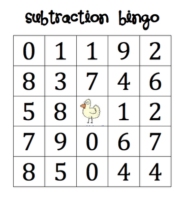 here 39 s a set of four different cards for playing subtraction bingo addition subtraction. Black Bedroom Furniture Sets. Home Design Ideas