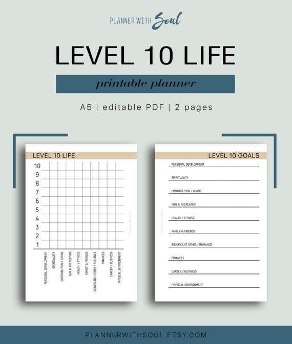graphic about Level 10 Life Printable known as A5 Stage 10 Lifetime Printable Editable Healthy от