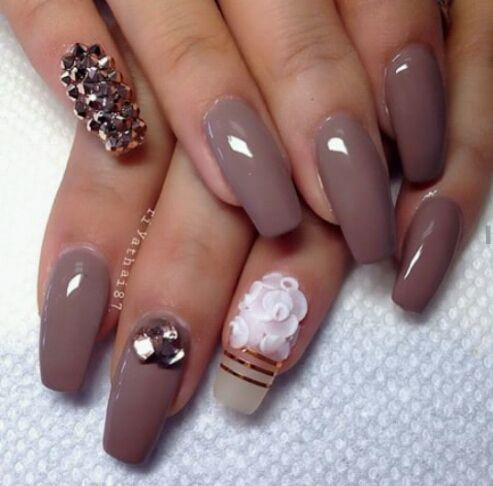 Dark Beige Nails With A Little Bedazzle Simple Nail Art Designs Nail Art Designs 2016 Nail Art Designs